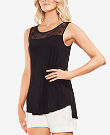 Vince Camuto Sheer Daisy Eyelet & Solid Top