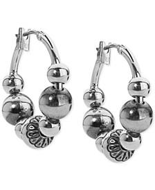 Beaded Hoop Earrings in Sterling Silver