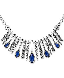 "Carolyn Pollack Lapis Lazuli/Rock Crystal Doublet Statement Necklace in Sterling Silver, 17"" + 3"" extender"