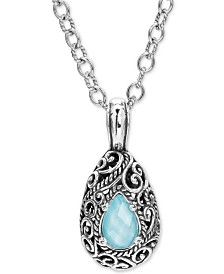 "Carolyn Pollack Turquoise /Rock Crystal Doublet 18"" Pendant Necklace in Sterling Silver"