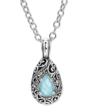 """Turquoise /Rock Crystal Doublet 18"""" Pendant Necklace in Sterling Silver"""