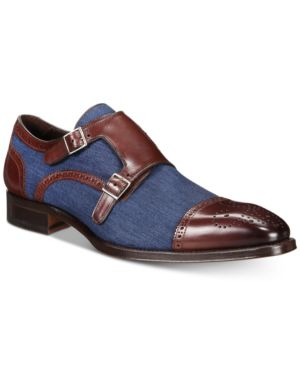 MEZLAN Men'S Cupido Double-Monk Strap Loafers Men'S Shoes in Brown/ Blue