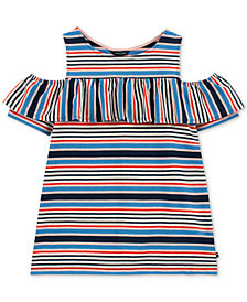 Tommy Hilfiger Big Girls Ruffle-Trim Cold Shoulder Top