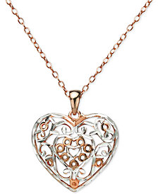 "Giani Bernini Two-Tone Filigree Heart 18"" Pendant Necklace in Sterling Silver & Rose Gold-Plate, Created for Macy's"