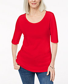 Karen Scott Cotton Laced-Shoulder T-Shirt, Created for Macy's