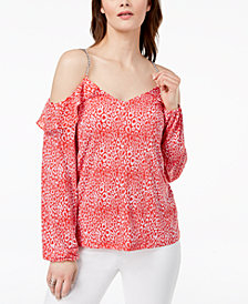 off shoulder ruffle blouse - Pink & Purple Twin-Set