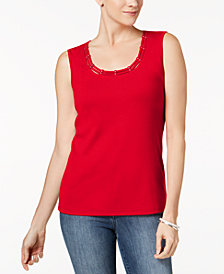 Karen Scott Studded Tank Top In Regular & Petite Sizes, Created  for Macy's
