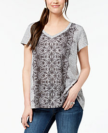 Style & Co Petite Placed-Print T-Shirt, Created for Macy's