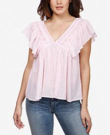 Lucky Brand Cotton Striped Pintucked V-Neck Top