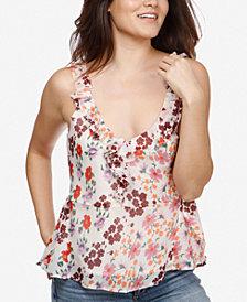 Lucky Brand Floral-Print Peplum-Hem Ruffle Top