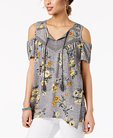 Style & Co Printed Handkerchief Peasant Top, Created for Macy's