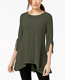 Alfani Petite Tie-Sleeve Trapeze Top, Created for Macy's