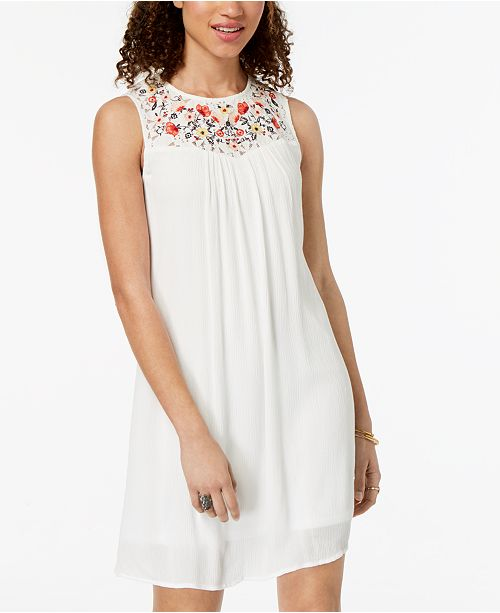 Trixxi Dress Ivory Up Lace Juniors' Embroidered rOqrR