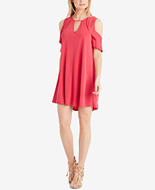 Jessica Simpson Juniors' Perlie Cold-Shoulder Keyhole Dress