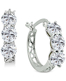 "Giani Bernini Small Cubic Zirconia Hoop Earrings in Sterling Silver, 0.6"", Created for Macy's"