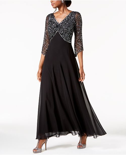 3d3f4f5b14e J Kara Embellished 3/4-Sleeve Gown & Reviews - Dresses - Women - Macy's