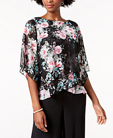 Alex Evenings Petite Floral-Print Tiered Blouse