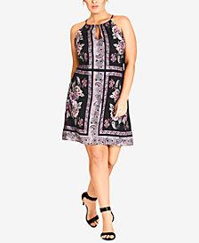 City Chic Trendy Plus Size Printed Shift Dress