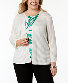 Alfani Plus Size Ribbed-Knit Cardigan, Created for Macy's
