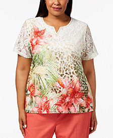 Alfred Dunner Plus Size Parrot Cay Embellished Floral-Print Lace Top