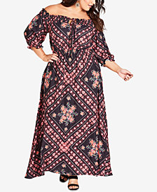 City Chic Trendy Plus Size Road Trip Printed Off-The-Shoulder Maxi Dress