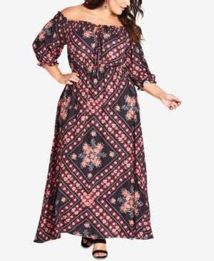 Trendy Plus Size Road Trip Printed Off-The-Shoulder Maxi Dress