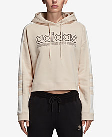 adidas Originals Cotton Cropped Logo Hoodie