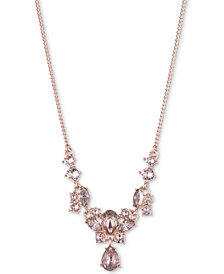 "Givenchy Rose Gold-Tone Crystal 19"" Statement Necklace"