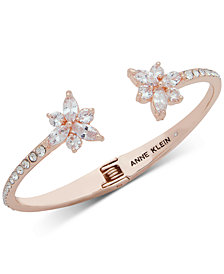 Anne Klein Rose Gold Tone Crystal Flower Cuff Bracelet Created For Macy S