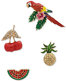 Anne Klein Gold-Tone 4-Pc. Set Crystal Parrot & Fruit Pins, Created for Macy's