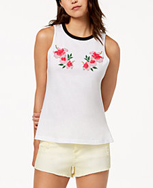 Carbon Copy Floral-Embroidered Tank Top
