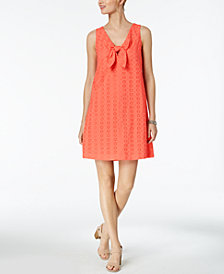 Pappagallo Tie-Front Eyelet Shift Dress