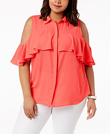 NY Collection Plus Size Cold-Shoulder Blouse