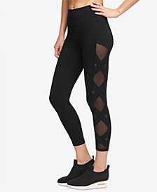 DKNY Sport High-Rise Mesh-Inset Yoga Ankle Leggings, Created for Macy's