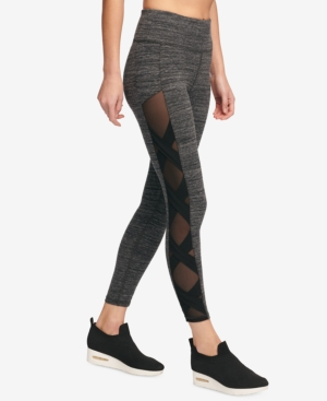 Dkny Sport High-Rise Mesh-Inset Yoga Ankle Leggings, Created for Macy's