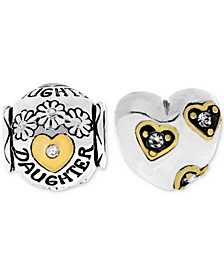 Two-Tone 2-Pc. Set Cubic Zirconia Floral Daughter & Heart Bead Charms in Sterling Silver