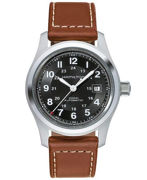 bb344ce3e906 ... Hamilton Men s Swiss Automatic Khaki Field Brown Leather Strap Watch  42mm H70555533 ...