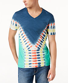 GUESS Men's Tie-Dye V-Neck T-Shirt