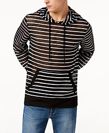 GUESS Men's Striped Mesh Hoodie