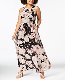 SL Fashions Plus Size Printed Chiffon Maxi Dress