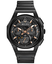 Bulova Men's Chronograph Curv Black Stainless Steel Bracelet Watch 44mm