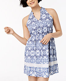 Maison Jules Ikat-Print Halter Dress, Created for Macy's