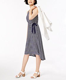 Maison Jules Striped High-Low Fit & Flare Dress, Created for Macy's