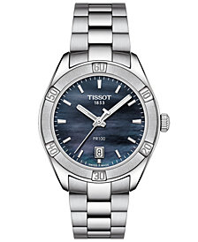 Tissot Women's Swiss PR 100 Sport Chic T-Classic Gray Stainless Steel Bracelet Watch 36mm