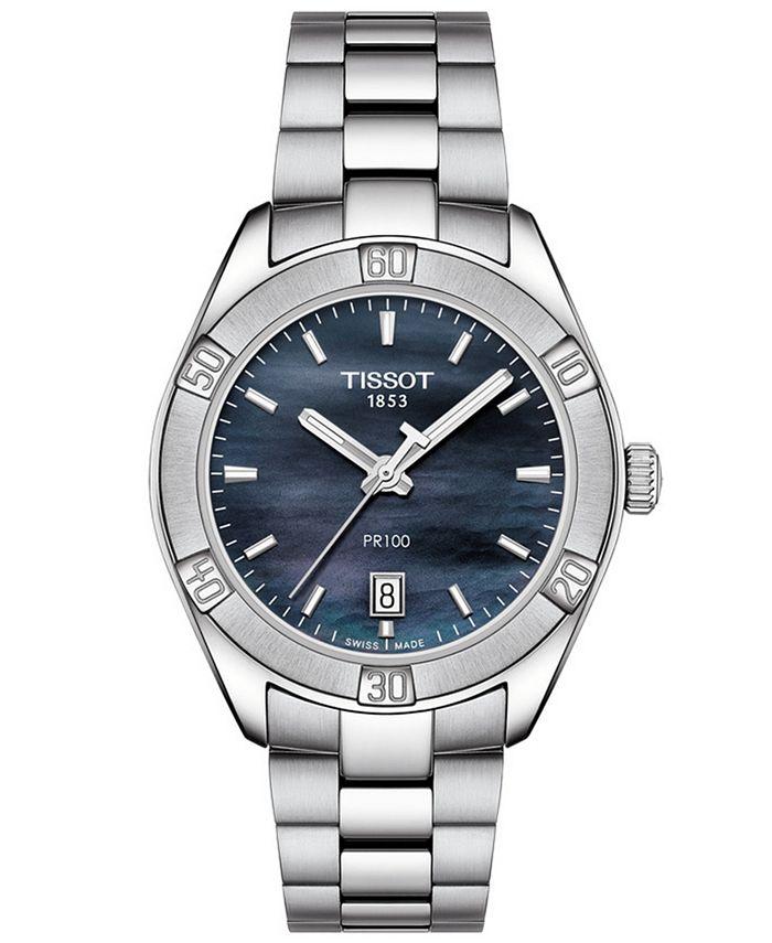 Tissot - Women's Swiss PR 100 Sport Chic T-Classic Gray Stainless Steel Bracelet Watch 36mm