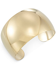 Polished Cuff Bracelet in 14k Gold-Plated Sterling Silver