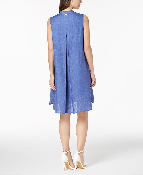 Linen Blue Anne Bright Collar Eton Klein Mandarin Dress RvqPvw
