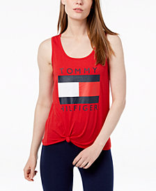 Tommy Hilfiger Sport Logo Knot Tank Top, Created for Macy's