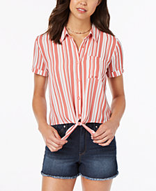 Hippie Rose Juniors' Striped Tie-Front Camp Shirt