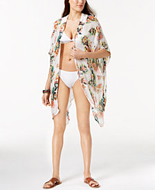 I.N.C. Tropical-Print Crochet Kimono & Cover-Up, Created for Macy's